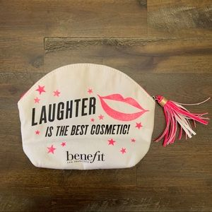 Benefit Cosmetics makeup bag with quote